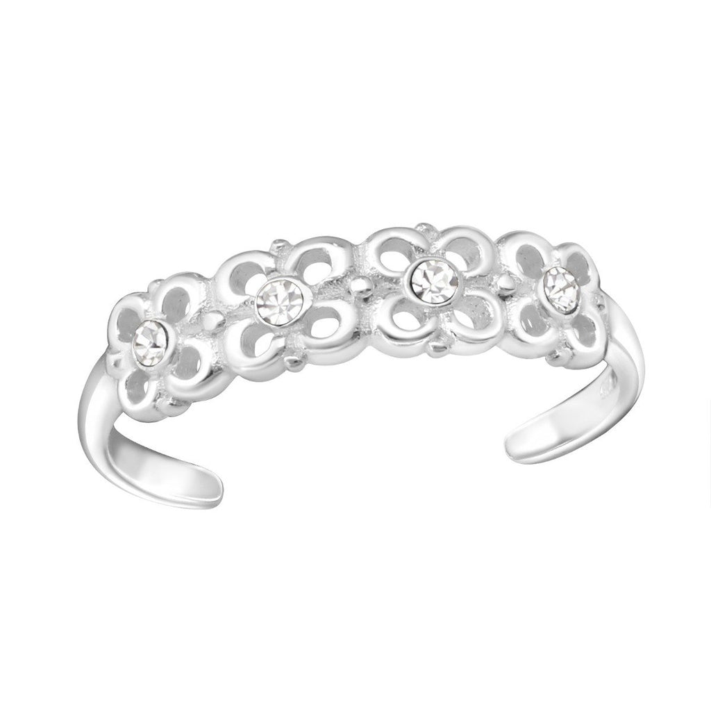 Sterling Silver Flowers Adjustable Crystal Toe Ring