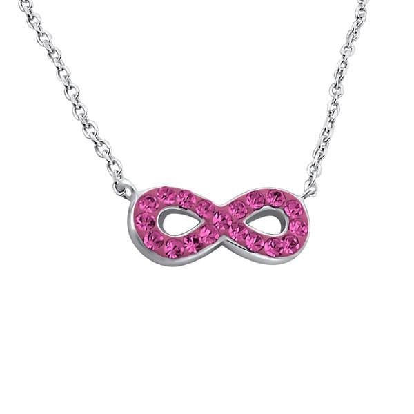 Silver  Rose Infinity   Necklace