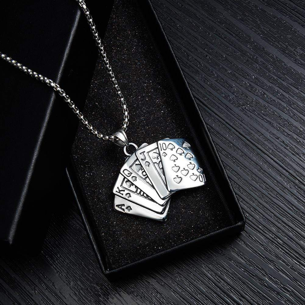 Stainless Steel Playing Cards Necklaces