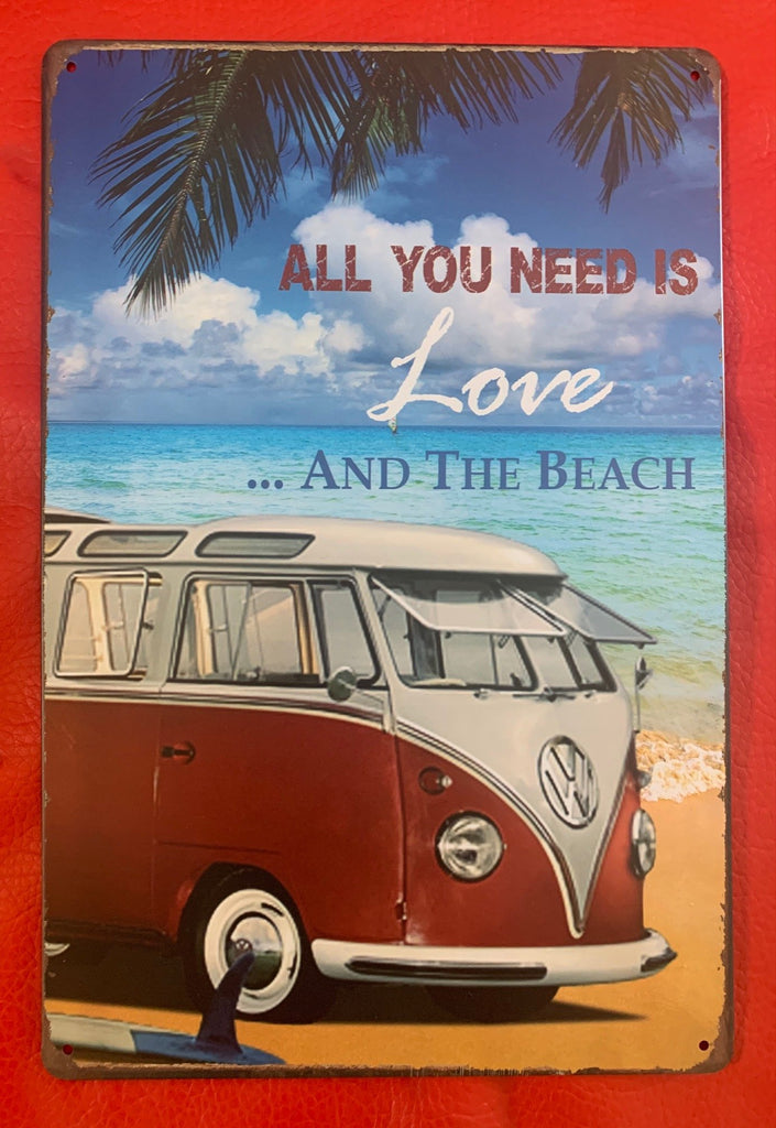 All You Need Is Love and Beach Metal Tin Sign Poster
