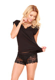 Viscose Black  Lace Sleepwear with Shorts