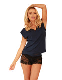 Viscose Lace Sleepwear Set - Navy Blue