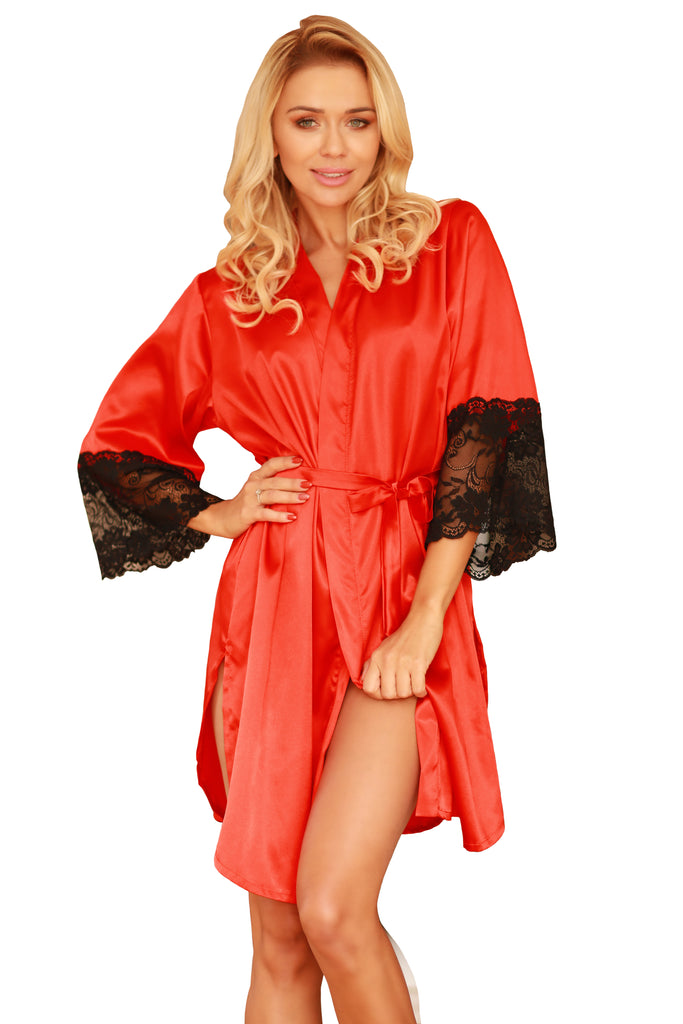 Elegant Satin Dressing Gown - red