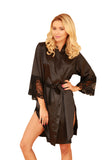 Elegant Satin Dressing Gown - black