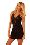 Luxury  Black Satin Chemise