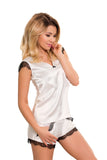 Luxury Sleepwear Nightwear with Shorts Set- ecru