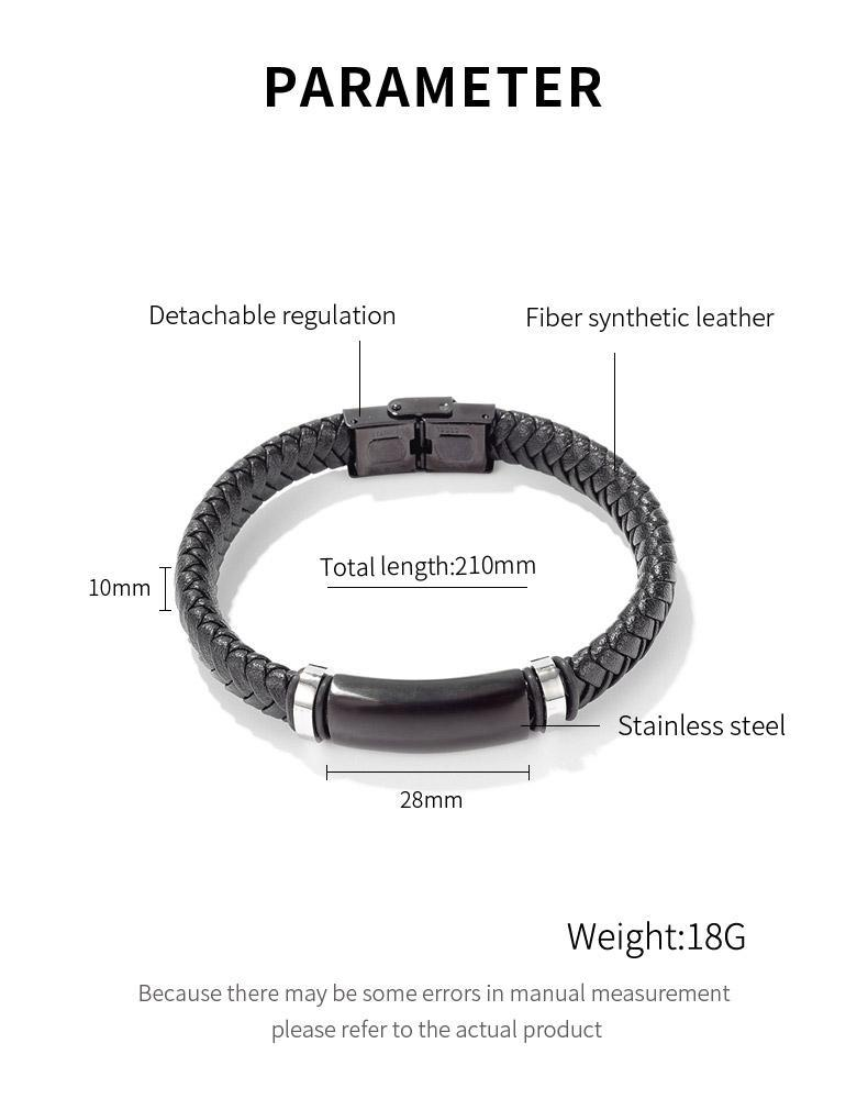 Stainless Steel Mens Braided Leather Bracelet