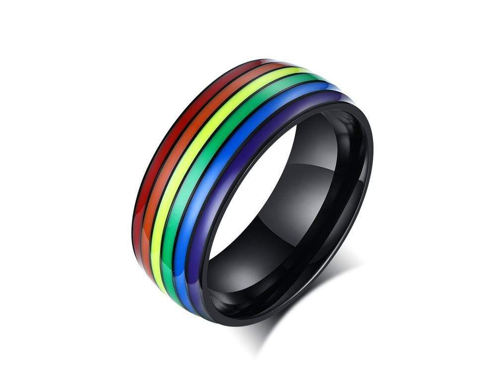 Stainless Steel Rainbow LGBT Pride Ring