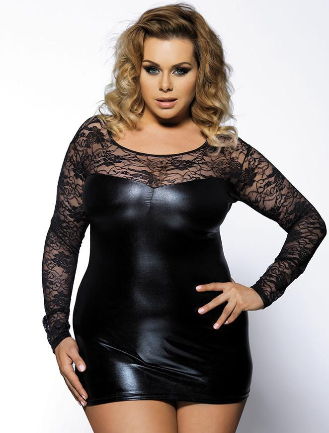 Plus Size Black Leather Party Dress