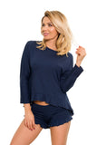 Romantic Sleepwear Nightwear Set - Navy Blue