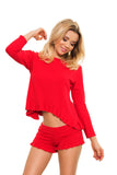 Women's Red Nightwear with Shorts Set