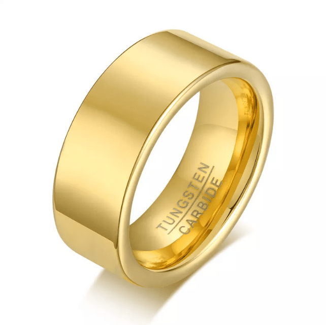 Personalized Gold Tungsten Carbide Wedding Band Ring for Men