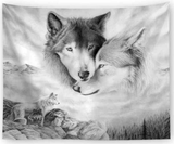 Wolf Wall Hanging Wall Tapestry