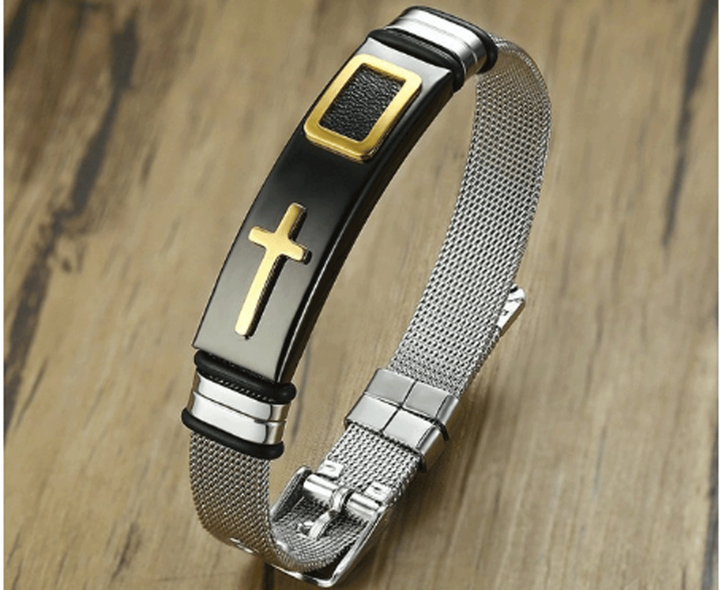 Adjustable Stainless Steel Cross Bracelet For Men and Women
