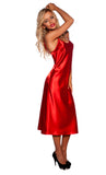 Arella Long red Satin Chemise