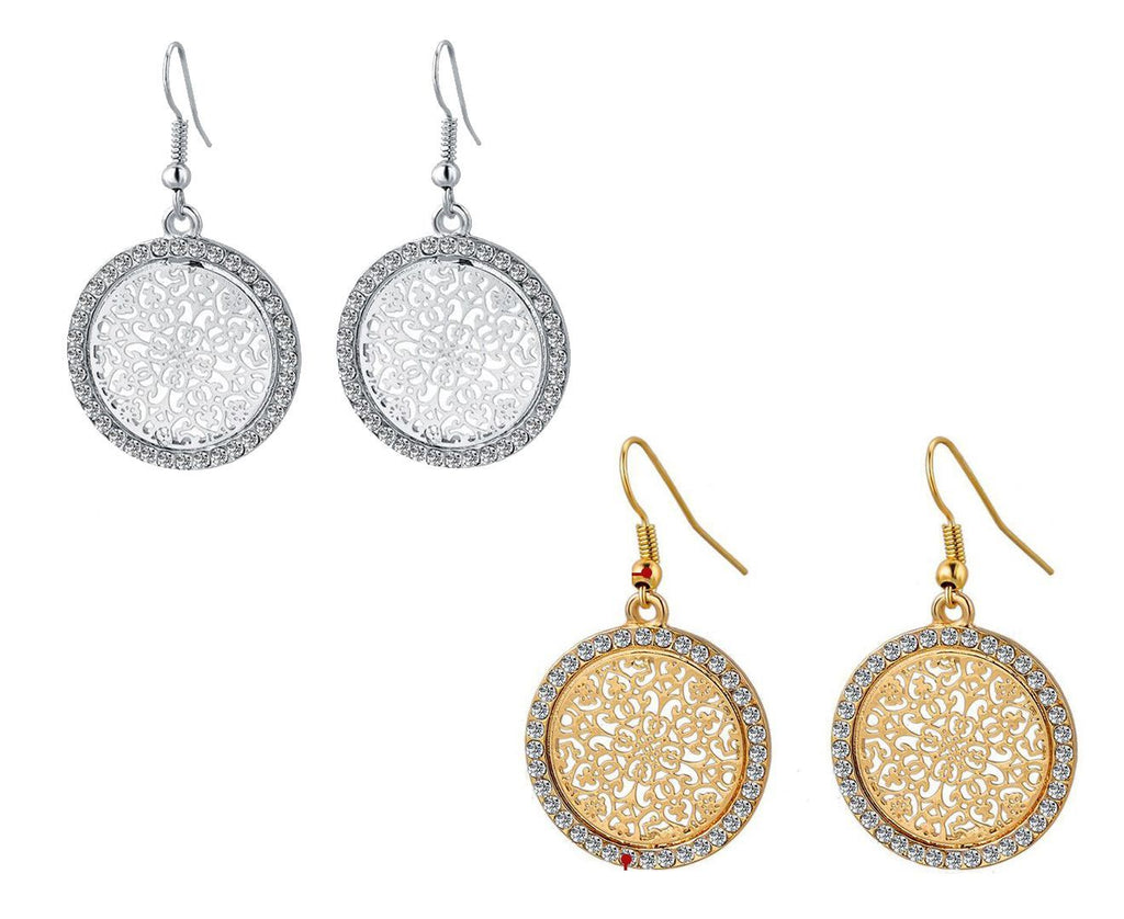 Beautiful Gold- & Silver Plated Crystal Drop Earrings