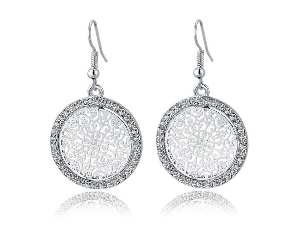 Beautiful Silver Plated Crystal Drop Earrings