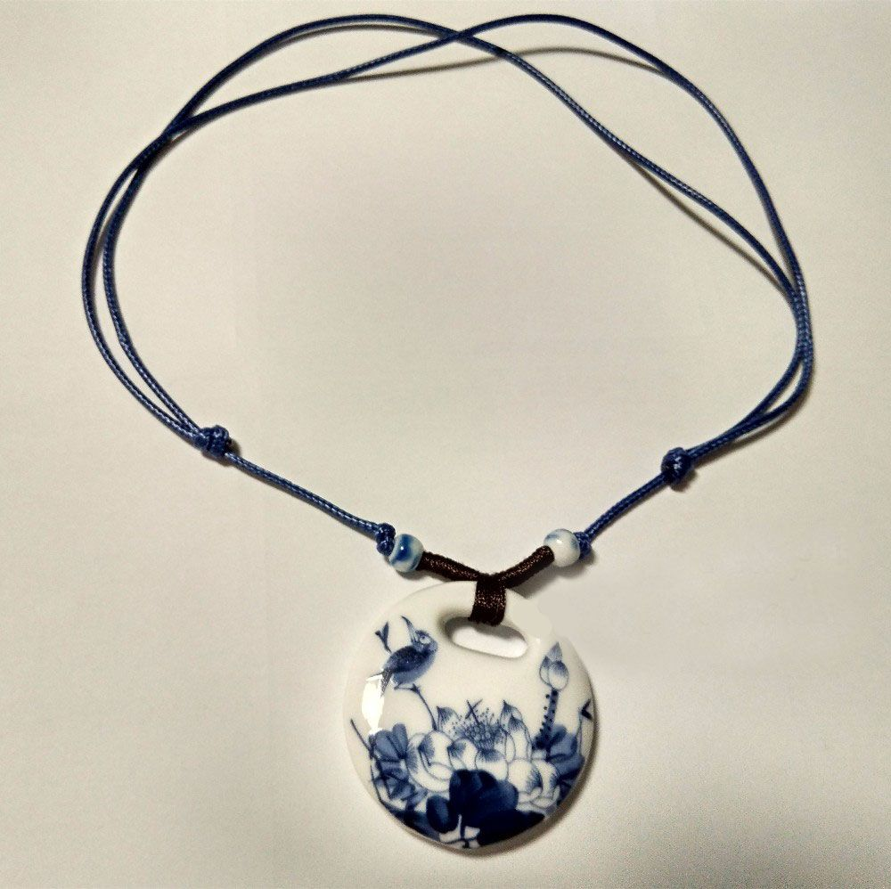Vintage Handmade Blue And White Ceramic Pendant Necklace