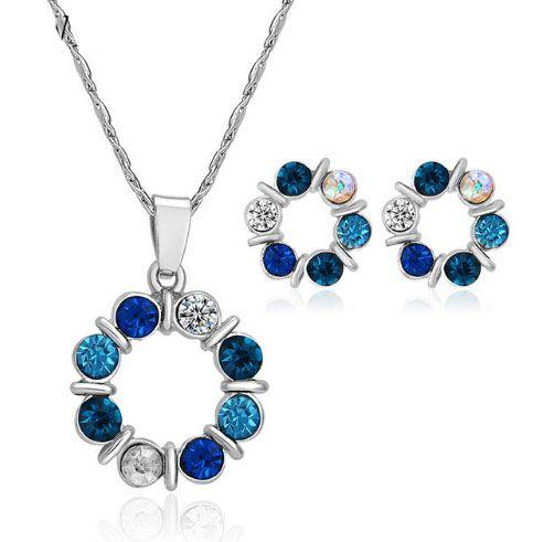 Silver Crystal Beads Necklace Set blue