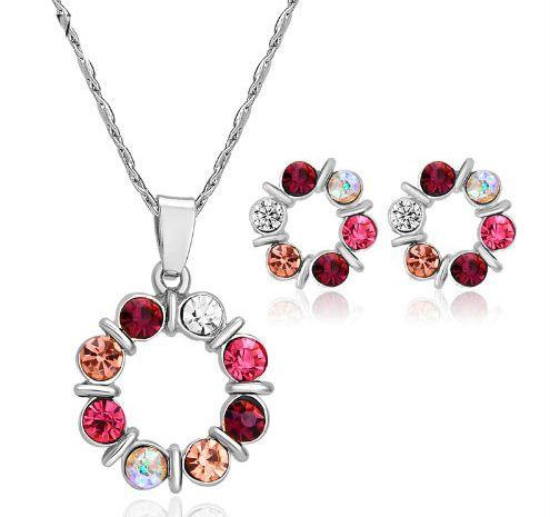 Silver Crystal Beads Necklace Set red