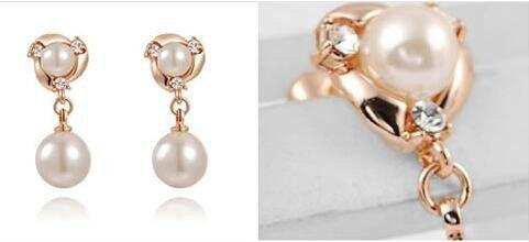 Bridal Gold Plated Crystal drop Pearl earrings