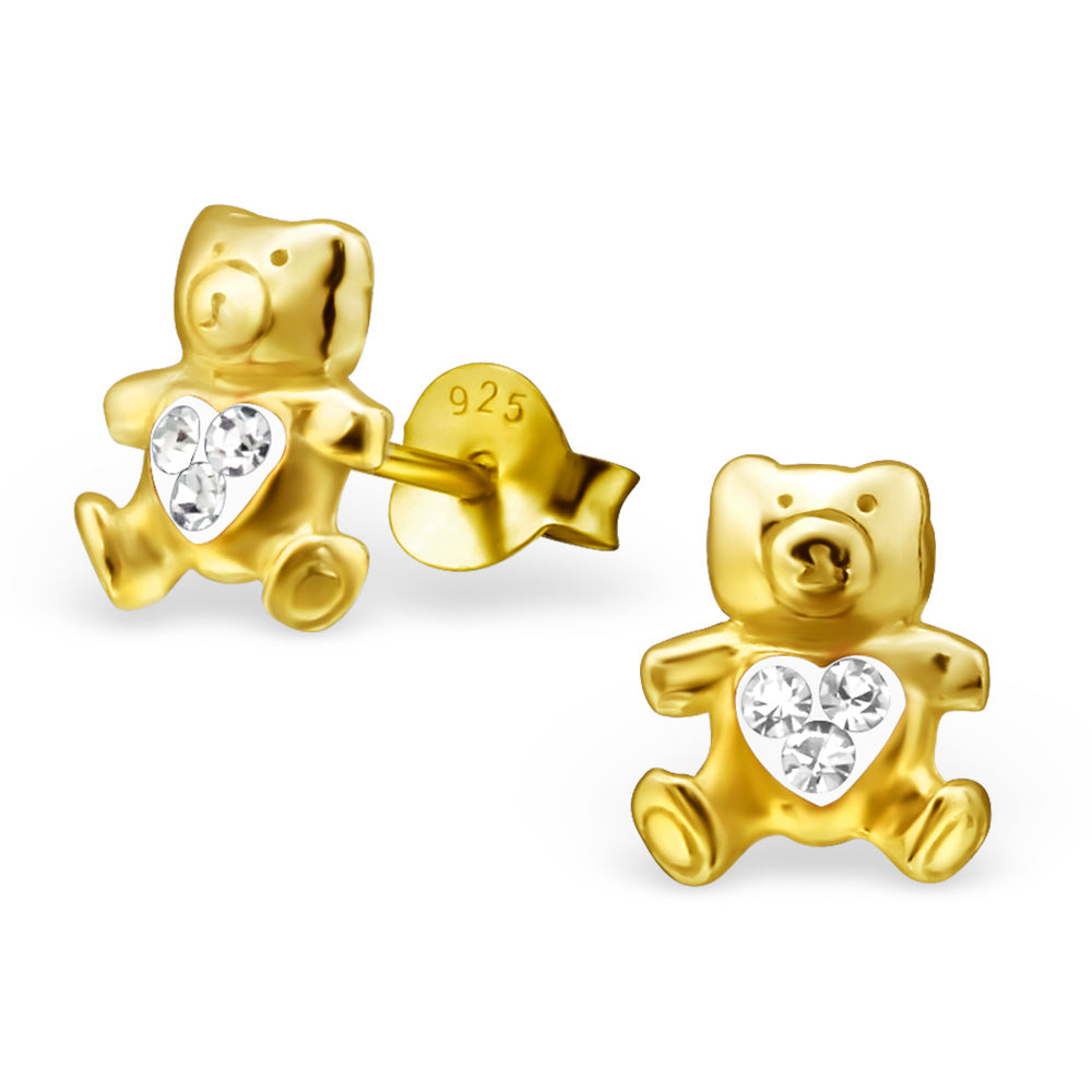 14K Gold Plated  Kids Bear Earrings crystal