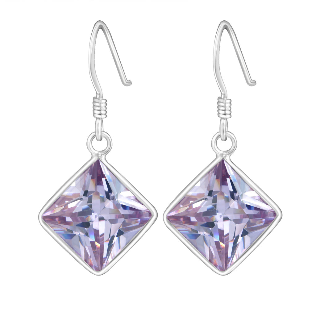 Sterling Silver Cubic Zirconia silver Square earrings