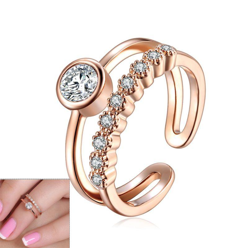Elegant Double Band Toe Ring with Crystal Gemstones rose gold