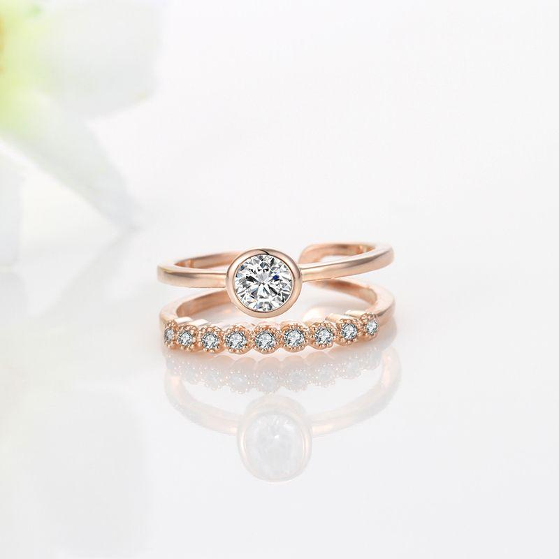 Double Band Toe Ring with Crystal Gemstones rose gold