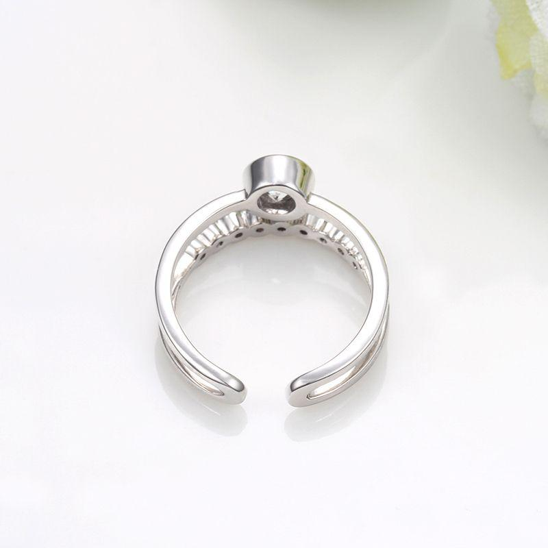 Band Toe Ring with Crystal Gemstones silver