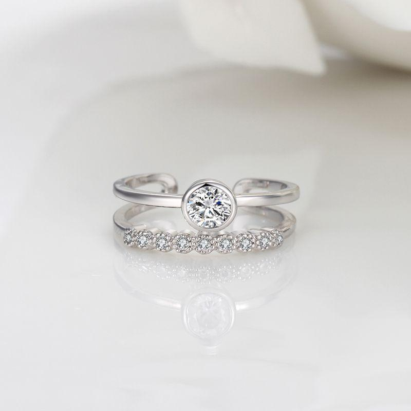 Double Band Toe Ring Crystal Gemstones silver