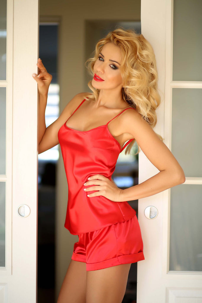Luxury Red Satin Sleepwear Set with Shorts