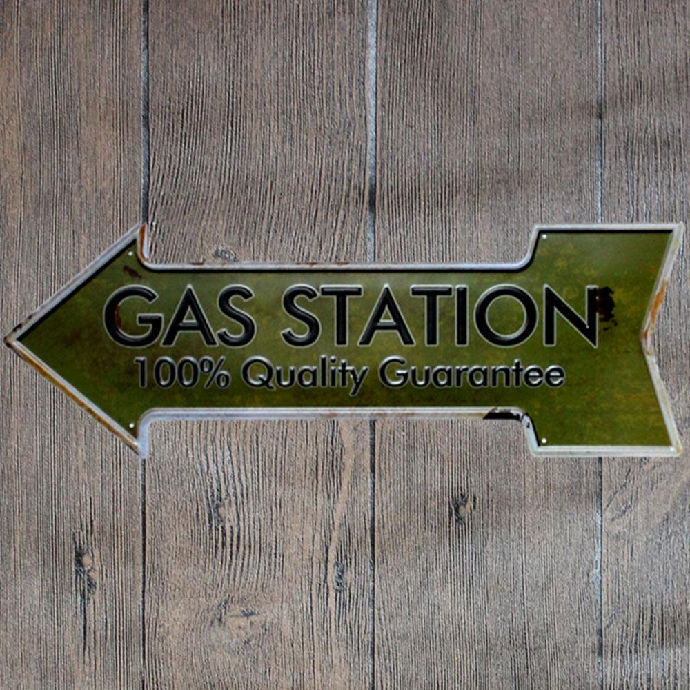 Gas Station Arrow Metal Tin Sign Poster