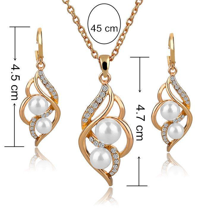 Gold Plated Pearl Necklace & earrings Set