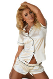 Imperial luxury Satin Sleepwear Set - ecru