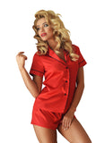 Red  luxury Satin Sleepwear with Shorts Set