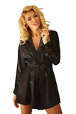 Two Tone Satin Dressing Gown - black