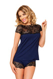 Luxury navy blue nightwear  with Shorts Set