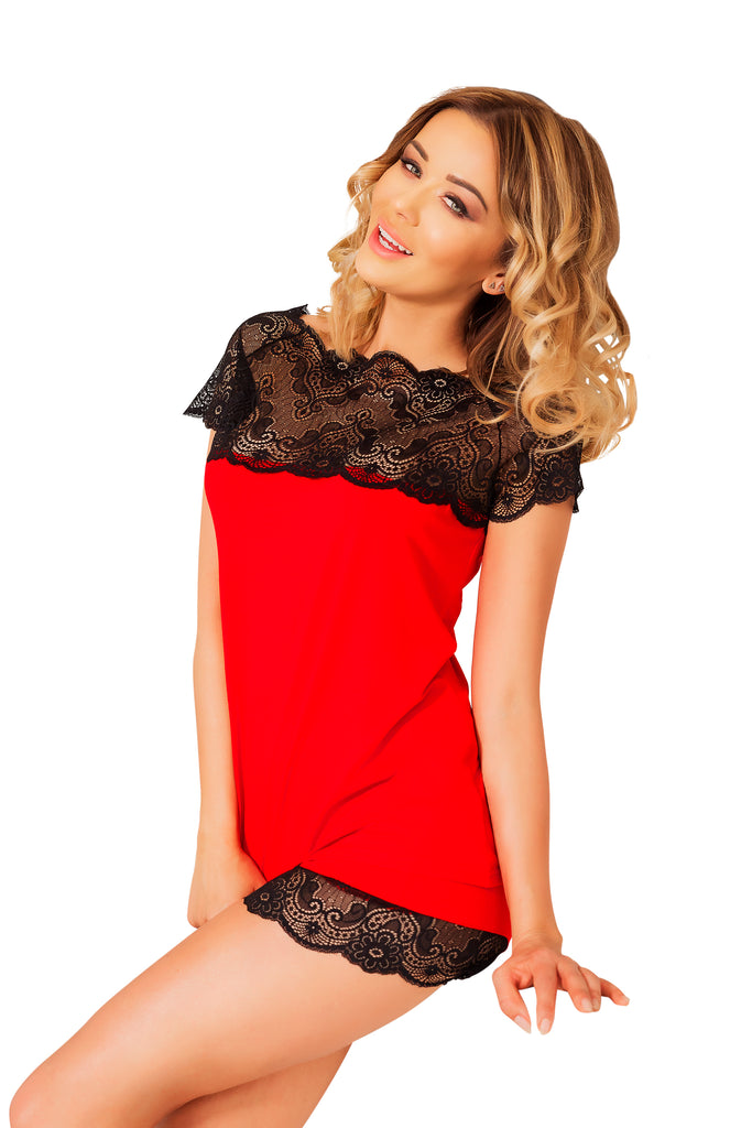 Luxury Red nightwear  with Shorts Set
