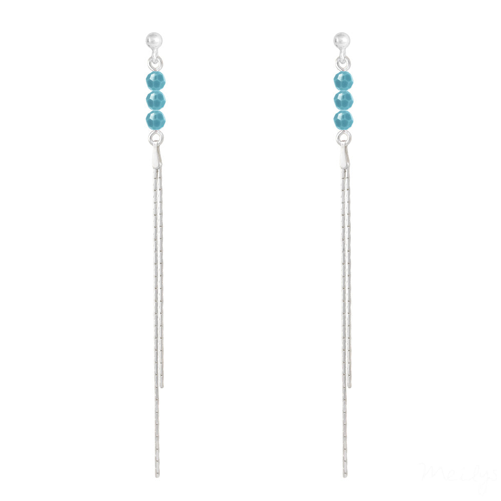Turquoise Swarovski Crystal Thread Earrings in Sterling Silver