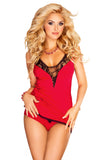 Womens  Red Sexy Sleepwear Set