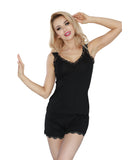 Black  Sleepwear Nightwear with Shorts  Set