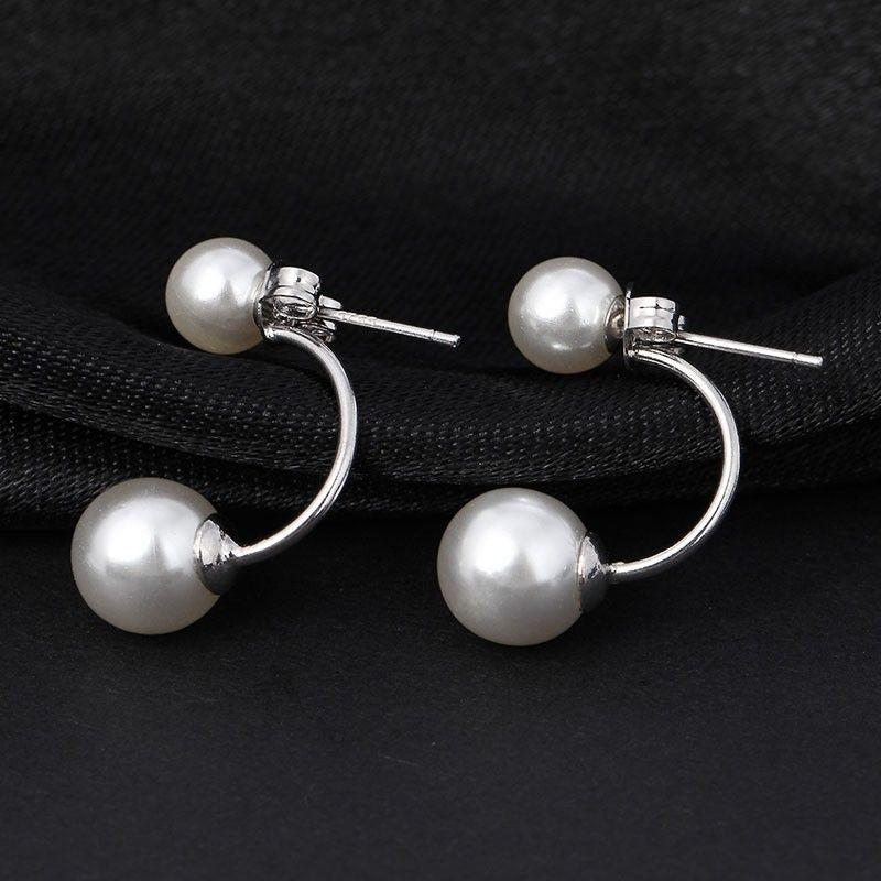 Pearl and Silver Drop Stud