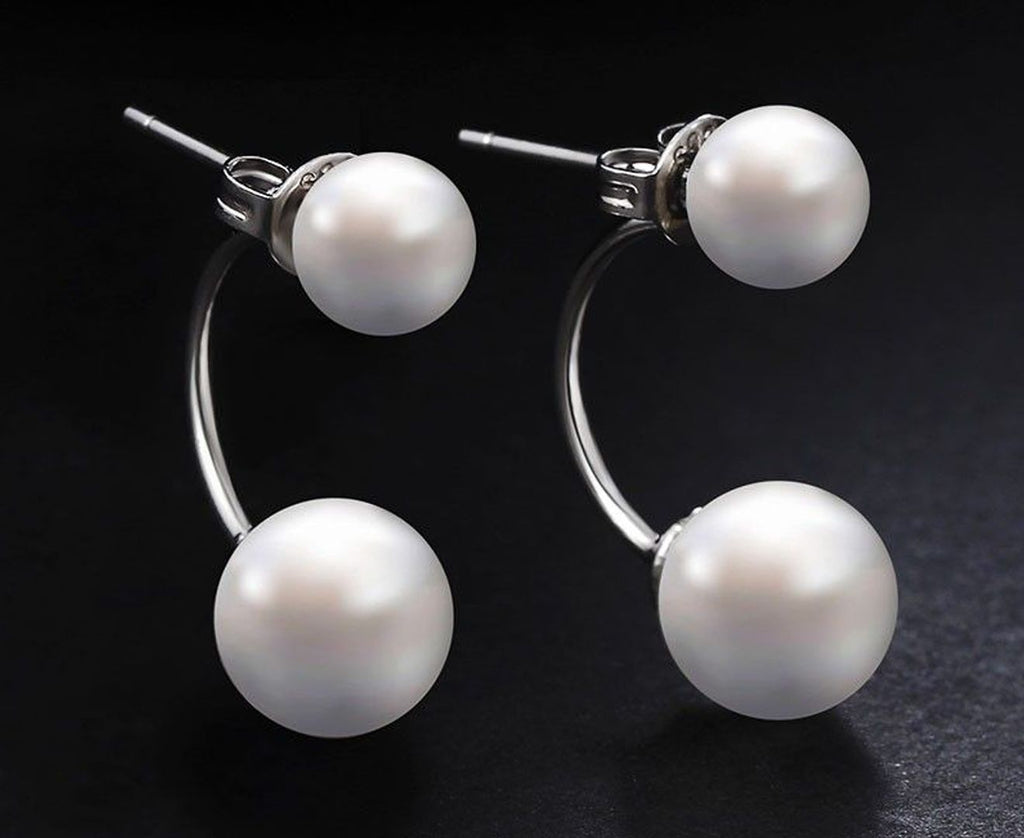 Pearl and Silver Drop Studs