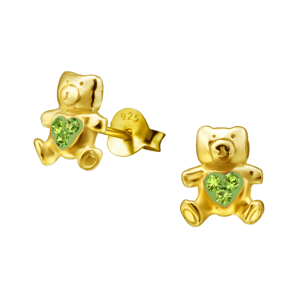 14K Gold Plated  Kids Bear Earrings peridot