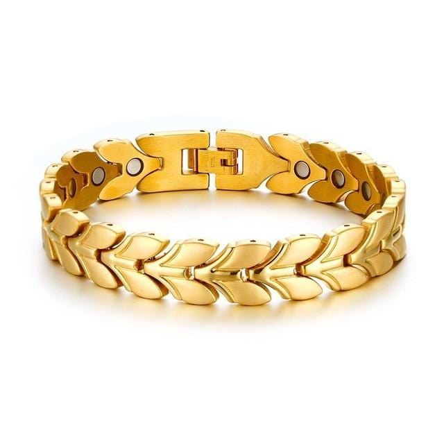Uniquely Patterned Gold Tone Braided Magnetic Wheat Link Bracelet