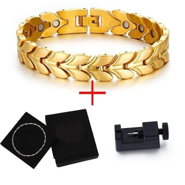 Uniquely Patterned Gold Tone Mens Braided Magnetic Wheat Link Bracelet