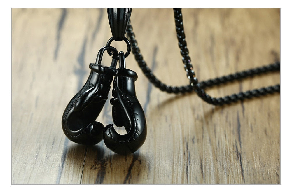 Stainless Steel  Boxing Gloves  Men's Necklace