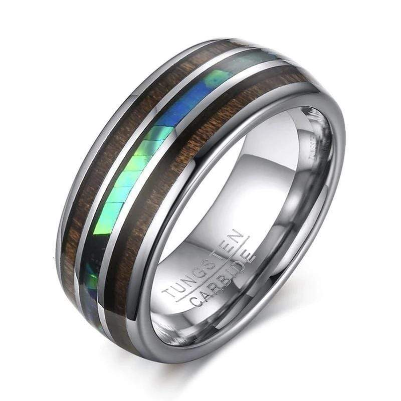 Shell and Wood Tungsten Carbide Ring