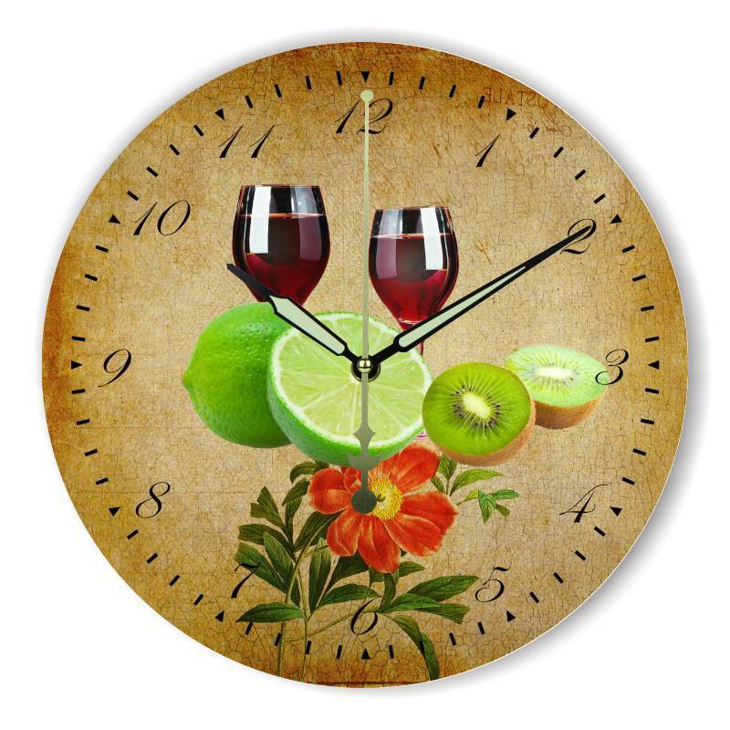 Large Vintage Wine and Fruits Clock